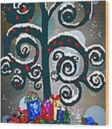 Christmas Tree Swirls And Curls Wood Print