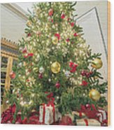 Christmas Tree  With Presents Tall Perspective Wood Print