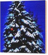 Christmas Tree With Red Ball Wood Print