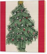 Christmas Tree With Red Mat Wood Print