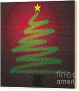 Christmas Tree With Star Wood Print