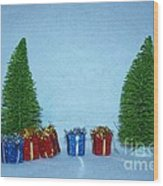 Christmas Trees With Red And Blue Presents Wood Print