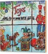 Christmas Window Wood Print by Linda Shackelford