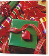 Christmas Wrap With Heart Ornament Wood Print