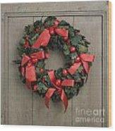 Christmas Wreath Wood Print by Bernard Jaubert