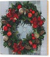 Christmas Wreath Greeting Card Wood Print