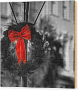 Christmas Wreath In Charleston Wood Print