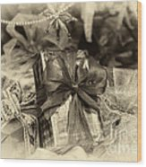 Christmasgift Under The Tree In Sepia Wood Print