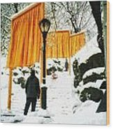 Christo - The Gates - Project For Central Park In Snow Wood Print