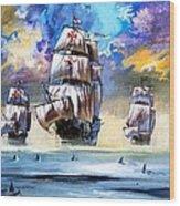 Christopher Columbus's Fleet  Wood Print