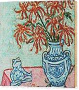 Chrysanthemum And Frog Wood Print
