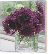Chrysanthemums In A Glass Jar Wood Print