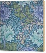 Chrysanthemums In Blue Wood Print