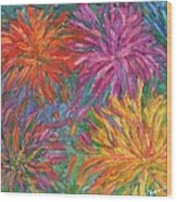 Chrysanthemums Like Fireworks Wood Print