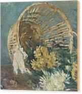 Chrysanthemums Or The Overturned Basket Wood Print