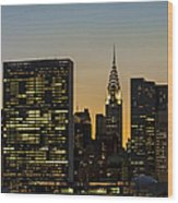 Chrysler And Un Buildings Sunset Wood Print
