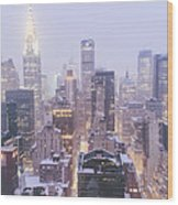 Chrysler Building And Skyscrapers Covered In Snow - New York City Wood Print