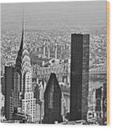 Chrysler Building New York Black And White Wood Print