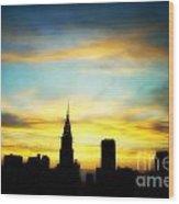 Chrysler Skyline With Incredible Sunset Wood Print