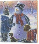 Chubby Snowman  Wood Print