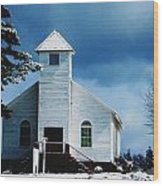 Chuch In The Snow Wood Print