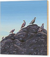 Chuckers - Calling In The Flock Wood Print by Laird Roberts
