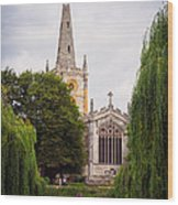 Church Across The River Wood Print by Trevor Wintle