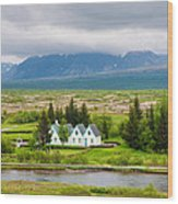 Church And Buildings National Park Pingvellir Iceland Wood Print