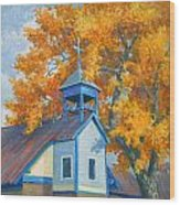 Church And Cottonwoods Wood Print