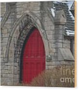 Church And The Red Door Wood Print