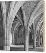 Church Archways In Black And White Wood Print