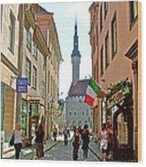Church At End Of Street In Old Town Tallinn-estonia Wood Print