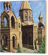 Church At Etchmiazin Wood Print