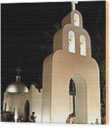 Church At Night In Playa Del Carmen Wood Print