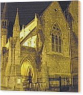 Church At Night Wood Print