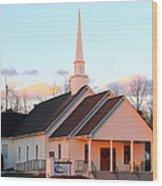 Church At Sunset Wood Print