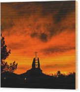 Church Cross Lit By Tucson Sunset Wood Print