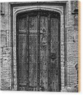 Church Door Bw Wood Print