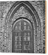 Church Door Monochromatic Wood Print by Antony McAulay