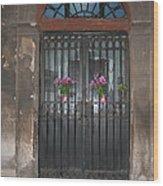 Church Doors And Flowers Wood Print