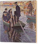 Church-goers In A Boat Wood Print
