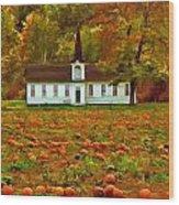 Church In A Pumpkin Patch Wood Print