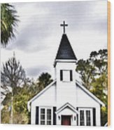 Church In A Small Town Wood Print
