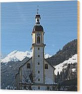 Church In The Austrian Alps Wood Print