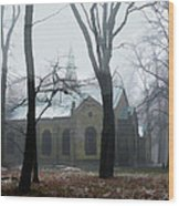 Church In The Misty Woods Wood Print