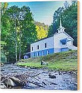 Church In The Mountains By The River Wood Print