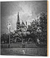 Church In The Rain Wood Print