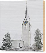 Church In Winter Wood Print