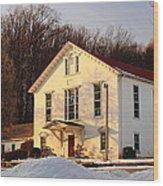 Church In Winter Sunset Wood Print