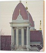 Church Of Gold Crosses Wood Print